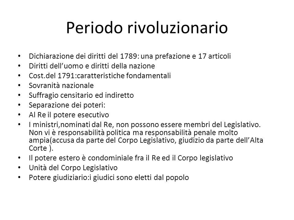Periodo rivoluzionario Dichiarazione dei diritti del 1789: una prefazione e 17 articoli Diritti delluomo e diritti della nazione Cost.del 1791:caratte