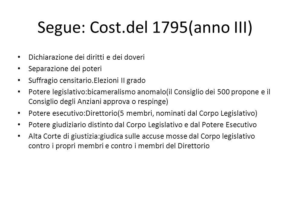 Segue: Cost.del 1795(anno III) Dichiarazione dei diritti e dei doveri Separazione dei poteri Suffragio censitario.Elezioni II grado Potere legislativo