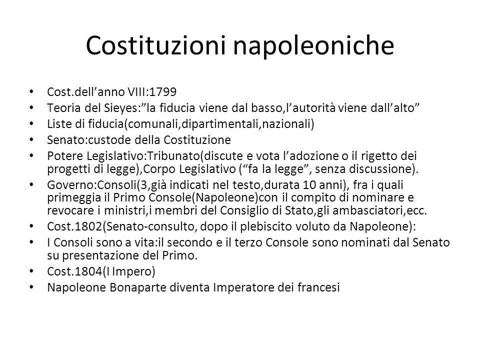 Costituzioni napoleoniche Cost.dellanno VIII:1799 Teoria del Sieyes:la fiducia viene dal basso,lautorità viene dallalto Liste di fiducia(comunali,dipa