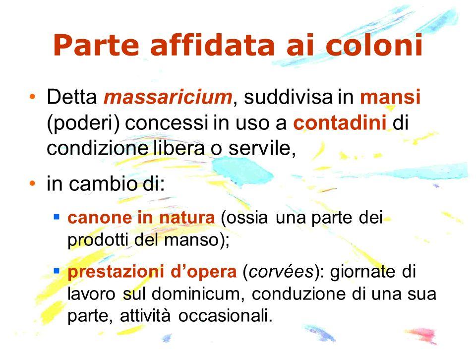 Parte affidata ai coloni Detta massaricium, suddivisa in mansi (poderi) concessi in uso a contadini di condizione libera o servile, in cambio di: cano