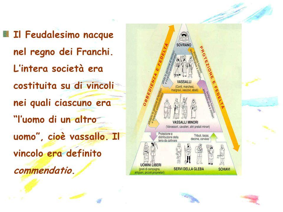 Il Feudalesimo nacque nel regno dei Franchi. Lintera società era costituita su di vincoli nei quali ciascuno era luomo di un altro uomo, cioè vassallo