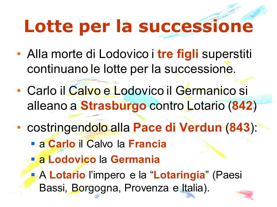 Lotte per la successione Alla morte di Lodovico i tre figli superstiti continuano le lotte per la successione. Carlo il Calvo e Lodovico il Germanico