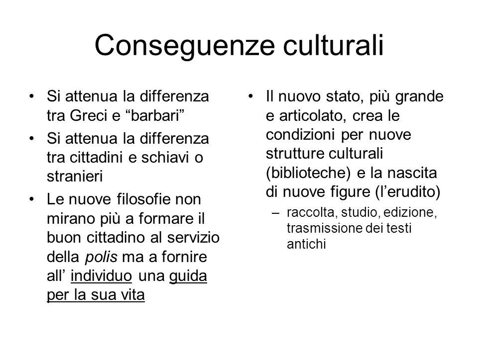 Conseguenze culturali Si attenua la differenza tra Greci e barbari Si attenua la differenza tra cittadini e schiavi o stranieri Le nuove filosofie non