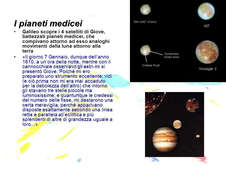 I pianeti medicei Galileo scopre i 4 satelliti di Giove, battezzati pianeti medicei, che compivano attorno ad esso analoghi movimenti della luna attorno alla terra «Il giorno 7 Gennaio, dunque dellanno 1610, a unora della notte, mentre con il cannocchiale osservavo gli astri mi si presentò Giove.