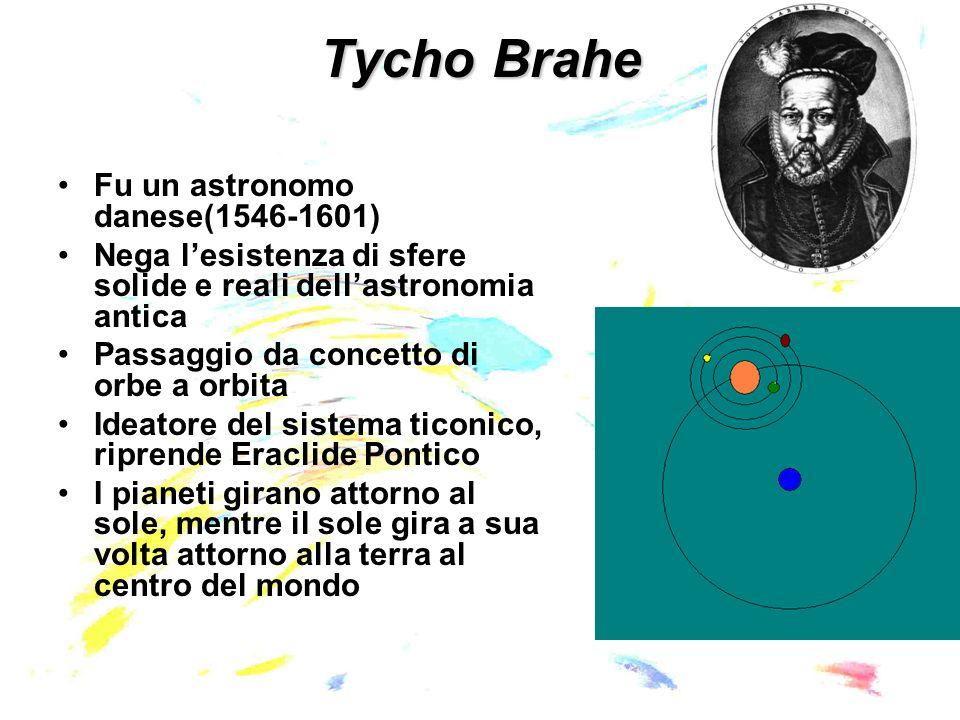 Johannes Kepler(1571-1630) Professore di matematica, assistente di Tycho Brahe - al centro del mondo sta il sole, immagine di Dio Padre, dal quale deriva luce, calore, vita - I 6 pianeti (Saturno, Giove, Marte, Mercurio, Venere, Terra) costituiscono un poliedro regolare e si muovono secondo sfere inscritte al poliedro delineato dalla loro posizione reciproca - al posto delle intelligenze motrici pose forze puramente fisiche