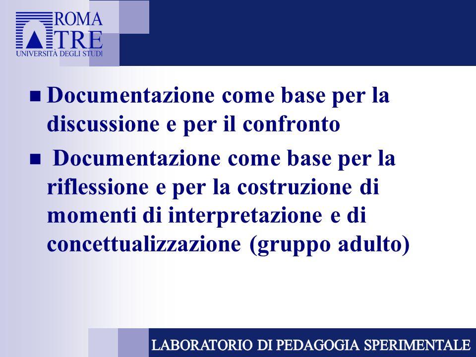 Documentazione come base per la discussione e per il confronto Documentazione come base per la riflessione e per la costruzione di momenti di interpre