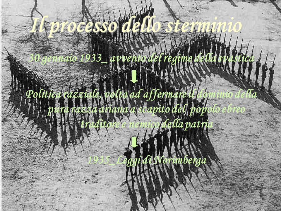 Il processo dello sterminio Il processo dello sterminio 30 gennaio 1933_ avvento del regime della svastica Politica razziale, volta ad affermare il do