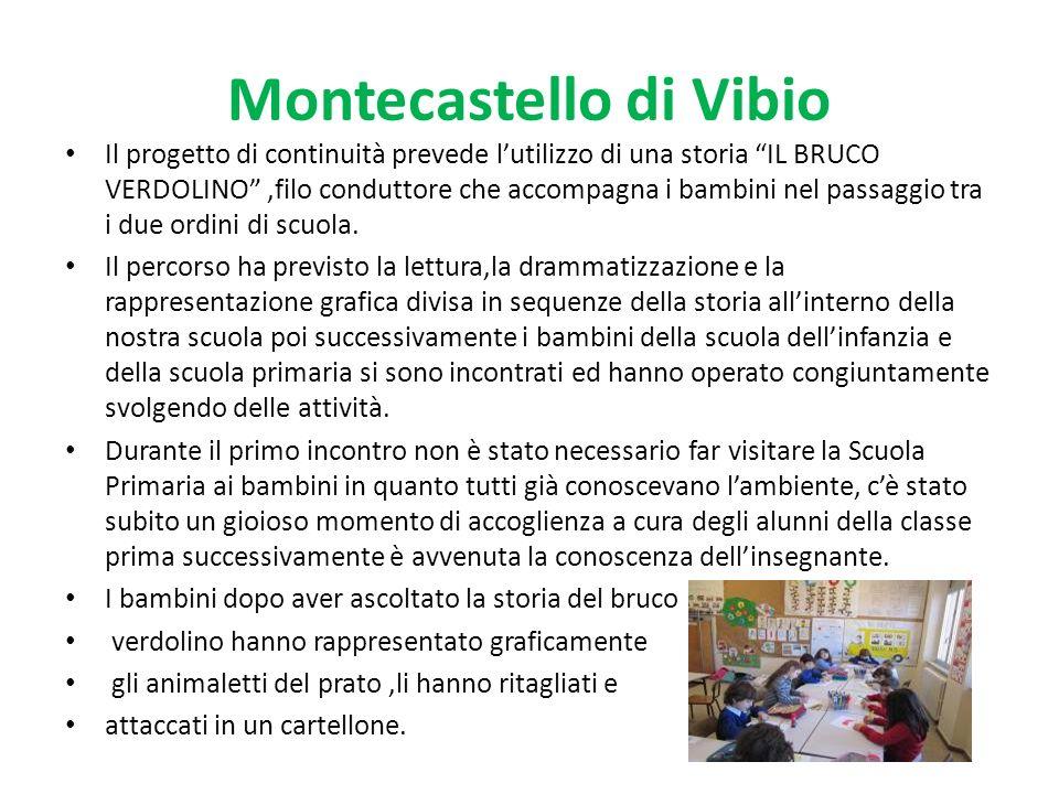 Montecastello di Vibio Il progetto di continuità prevede lutilizzo di una storia IL BRUCO VERDOLINO,filo conduttore che accompagna i bambini nel passaggio tra i due ordini di scuola.