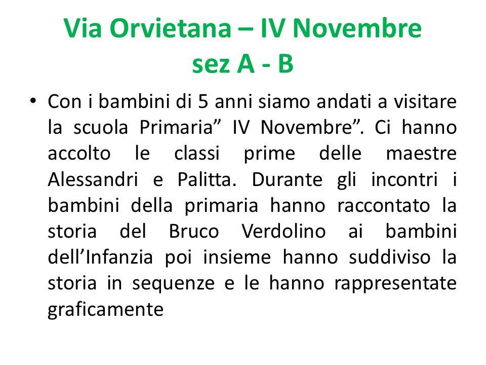 Via Orvietana – IV Novembre sez A - B Con i bambini di 5 anni siamo andati a visitare la scuola Primaria IV Novembre.