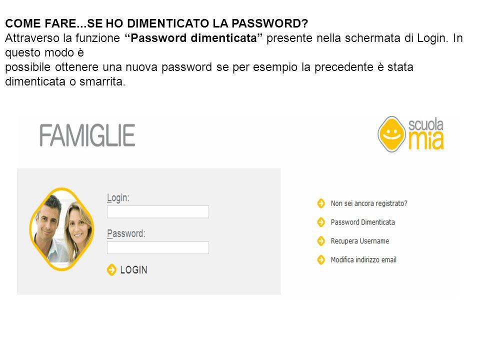 COME FARE...SE HO DIMENTICATO LA PASSWORD? Attraverso la funzione Password dimenticata presente nella schermata di Login. In questo modo è possibile o