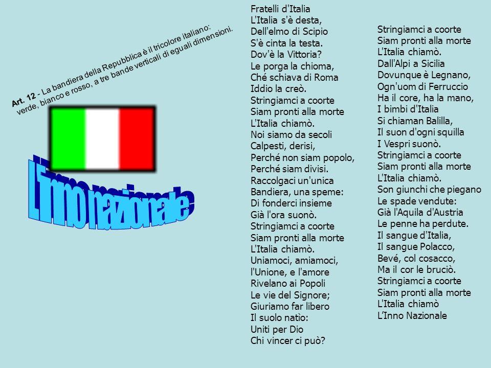 Fratelli d'Italia L'Italia s'è desta, Dell'elmo di Scipio S'è cinta la testa. Dov'è la Vittoria? Le porga la chioma, Ché schiava di Roma Iddio la creò
