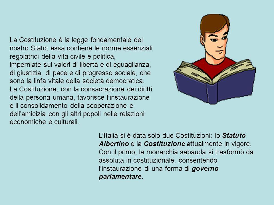 La Costituzione è la legge fondamentale del nostro Stato: essa contiene le norme essenziali regolatrici della vita civile e politica, imperniate sui v