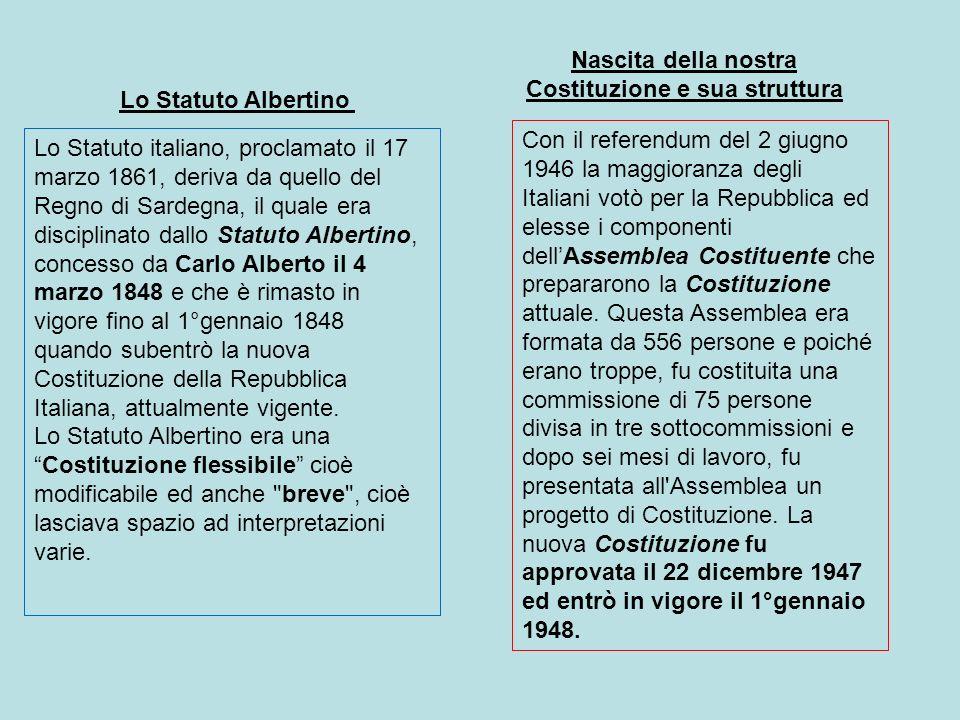Lo Statuto Albertino Lo Statuto italiano, proclamato il 17 marzo 1861, deriva da quello del Regno di Sardegna, il quale era disciplinato dallo Statuto