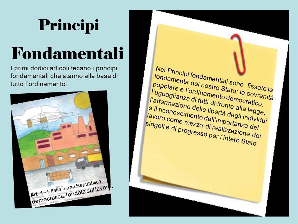 Principi Fondamentali I primi dodici articoli recano i principi fondamentali che stanno alla base di tutto lordinamento. Nei Principi fondamentali son