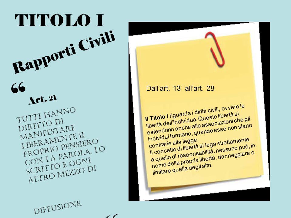 TITOLO I Rapporti Civili Il Titolo I riguarda i diritti civili, ovvero le libertà dellindividuo. Queste libertà si estendono anche alle associazioni c