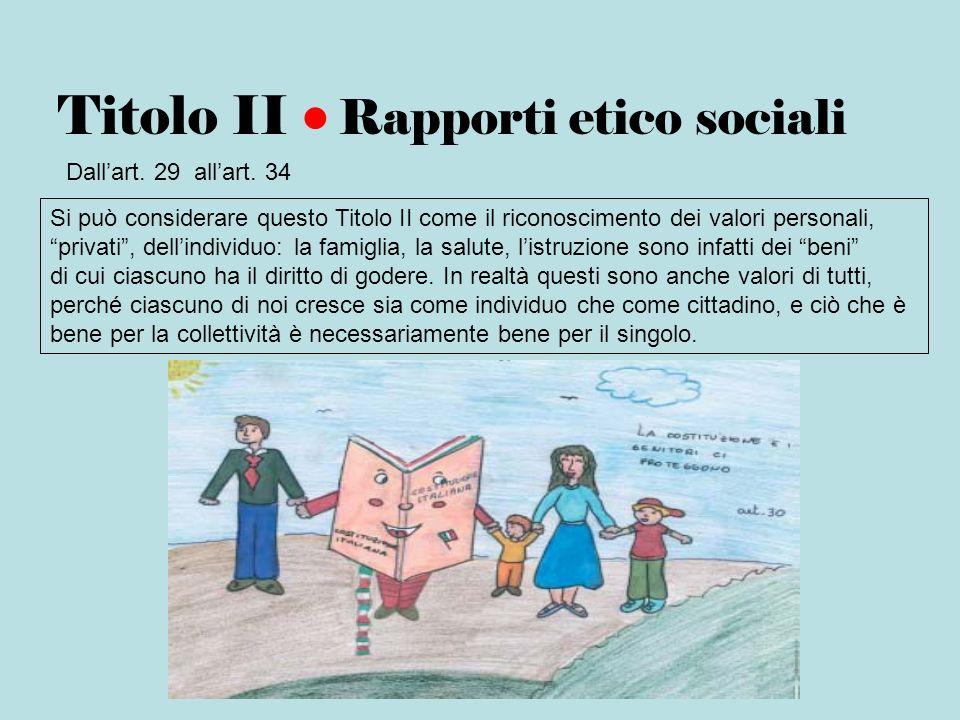 Titolo II Rapporti etico sociali Dallart. 29 allart. 34 Si può considerare questo Titolo II come il riconoscimento dei valori personali, privati, dell