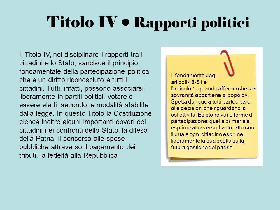 Titolo IV Rapporti politici Il Titolo IV, nel disciplinare i rapporti tra i cittadini e lo Stato, sancisce il principio fondamentale della partecipazi