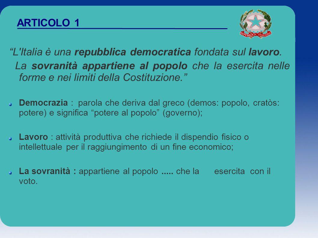 ARTICOLO 1 L'Italia è una repubblica democratica fondata sul lavoro. La sovranità appartiene al popolo che la esercita nelle forme e nei limiti della