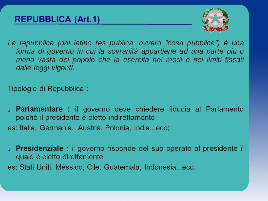 REPUBBLICA (Art.1) La repubblica (dal latino res publica, ovvero