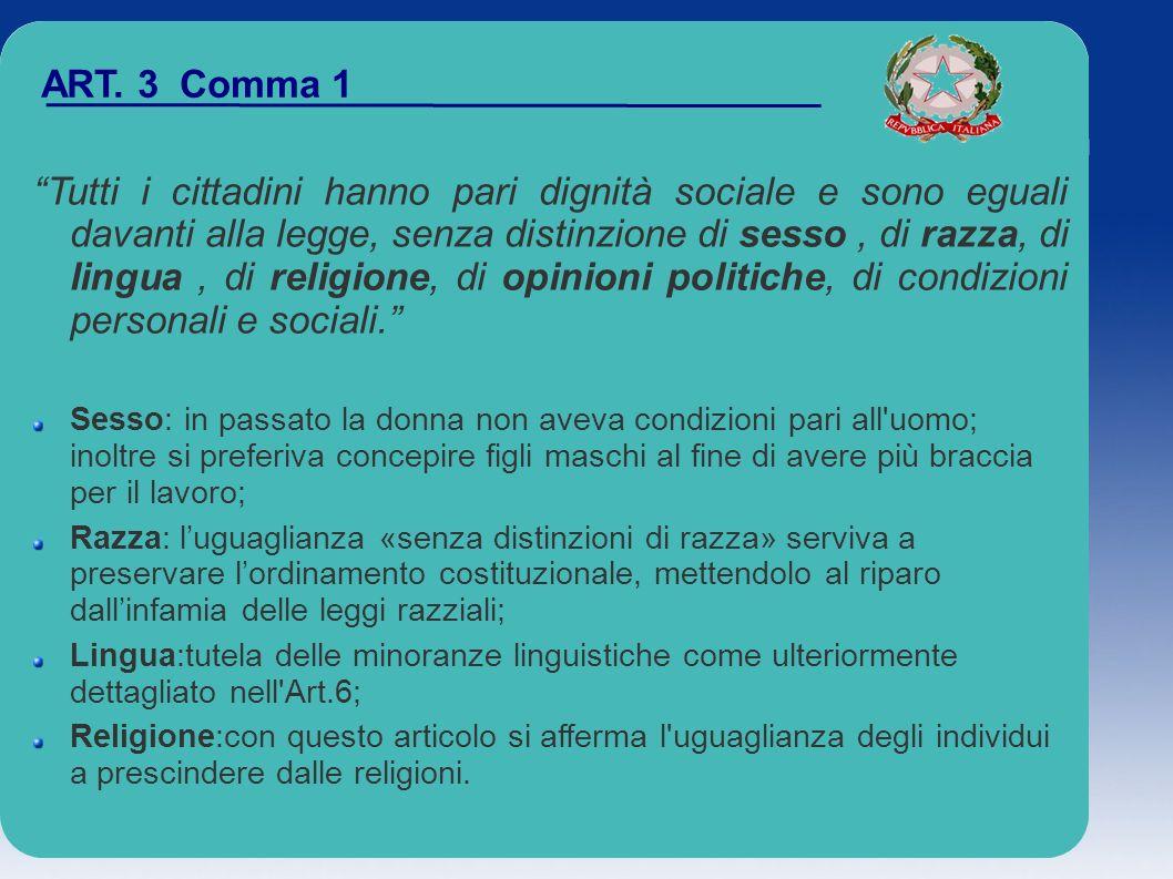 ART. 3 Comma 1 Tutti i cittadini hanno pari dignità sociale e sono eguali davanti alla legge, senza distinzione di sesso, di razza, di lingua, di reli