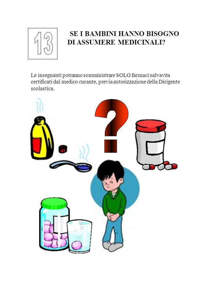 SE I BAMBINI HANNO BISOGNO DI ASSUMERE MEDICINALI? Le insegnanti potranno somministrare SOLO farmaci salvavita certificati dal medico curante, previa