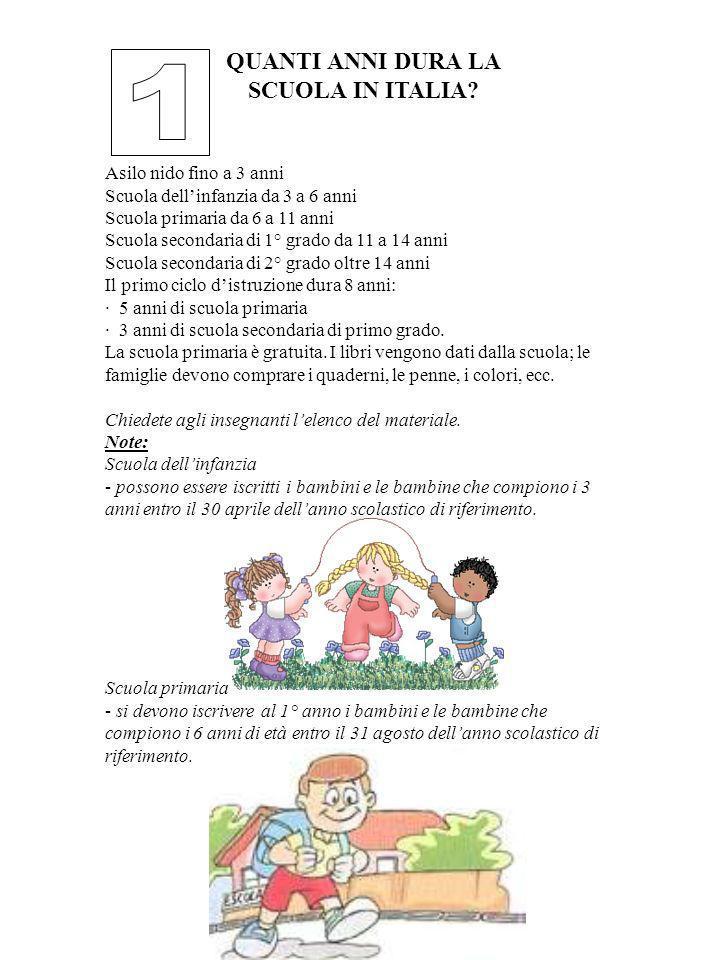QUANTI ANNI DURA LA SCUOLA IN ITALIA? Asilo nido fino a 3 anni Scuola dellinfanzia da 3 a 6 anni Scuola primaria da 6 a 11 anni Scuola secondaria di 1