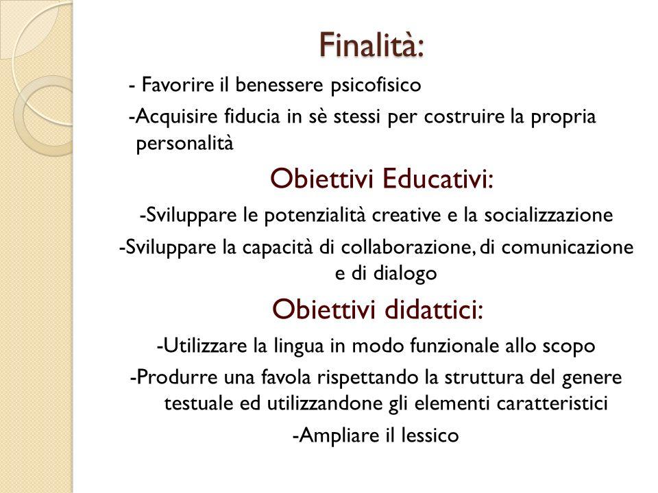 Finalità: Finalità: - Favorire il benessere psicofisico -Acquisire fiducia in sè stessi per costruire la propria personalità Obiettivi Educativi: -Svi