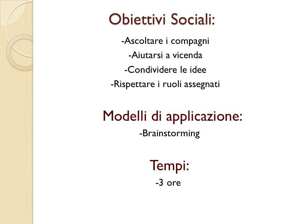 Obiettivi Sociali: Obiettivi Sociali: -Ascoltare i compagni -Aiutarsi a vicenda -Condividere le idee -Rispettare i ruoli assegnati Modelli di applicaz