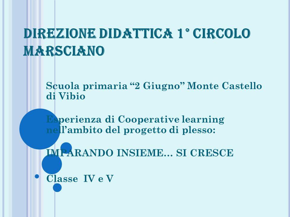DIREZIONE DIDATTICA 1° CIRCOLO MARSCIANO Scuola primaria 2 Giugno Monte Castello di Vibio Esperienza di Cooperative learning nellambito del progetto d