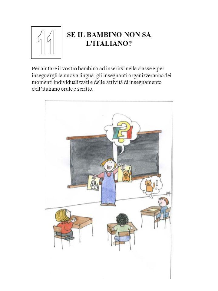 SE IL BAMBINO NON SA LITALIANO? Per aiutare il vostro bambino ad inserirsi nella classe e per insegnargli la nuova lingua, gli insegnanti organizzeran