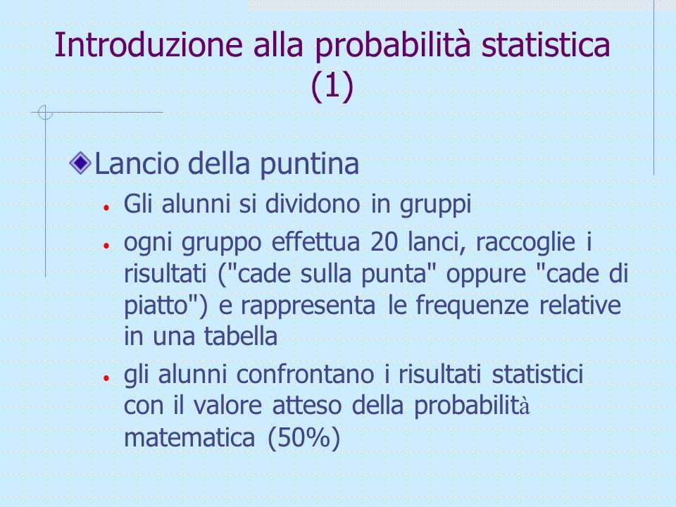 Verso la probabilità statistica E se non possiamo stabilire che tutti i casi hanno la stessa possibilità di verificarsi?