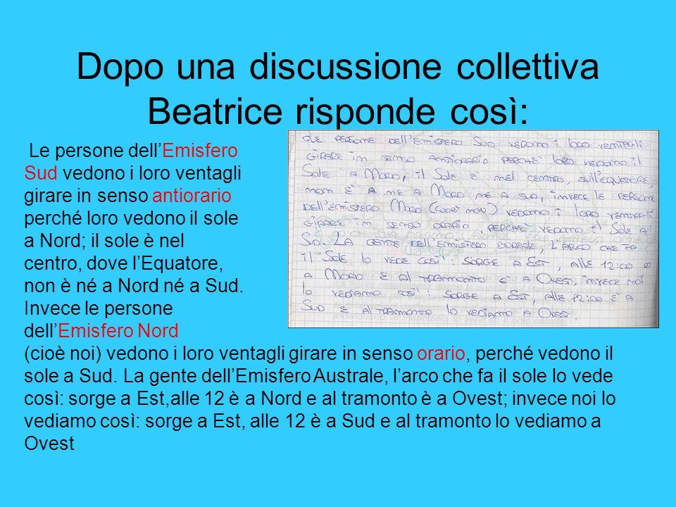 Dopo una discussione collettiva Beatrice risponde così: Le persone dellEmisfero Sud vedono i loro ventagli girare in senso antiorario perché loro vedo