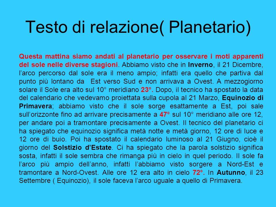 Testo di relazione( Planetario) Questa mattina siamo andati al planetario per osservare i moti apparenti del sole nelle diverse stagioni. Abbiamo vist