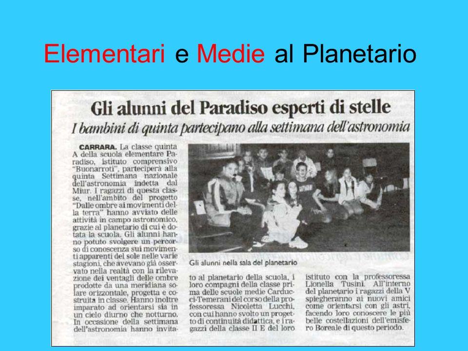 Elementari e Medie al Planetario