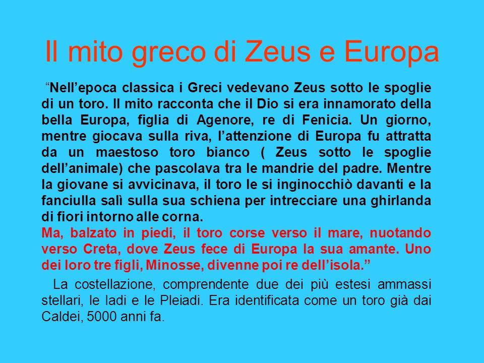 Il mito greco di Zeus e Europa Nellepoca classica i Greci vedevano Zeus sotto le spoglie di un toro. Il mito racconta che il Dio si era innamorato del