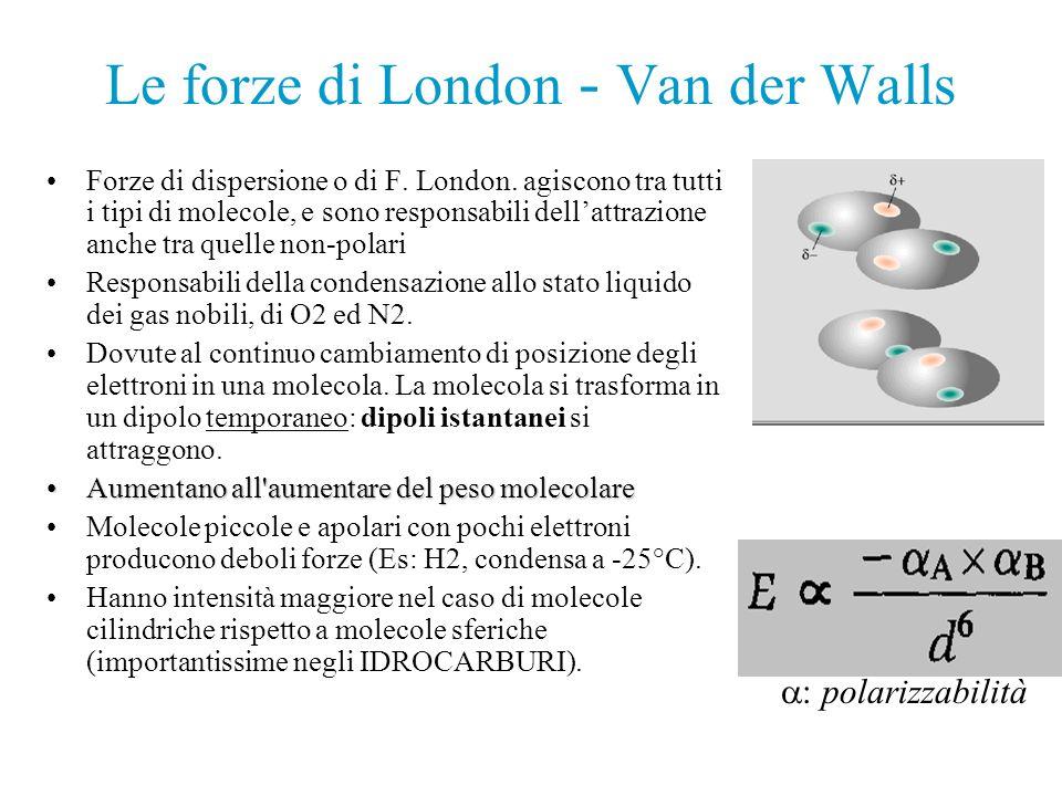 Le forze di London - Van der Walls Forze di dispersione o di F. London. agiscono tra tutti i tipi di molecole, e sono responsabili dellattrazione anch