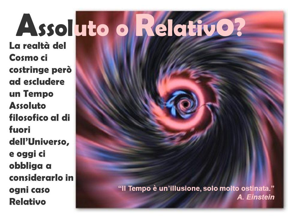 A ssoluto o R elativ o ? La realtà del Cosmo ci costringe però ad escludere un Tempo Assoluto filosofico al di fuori dellUniverso, e oggi ci obbliga a