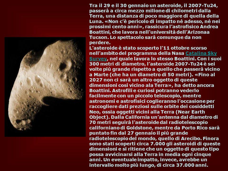 Tra il 29 e il 30 gennaio un asteroide, il 2007-Tu24, passerà a circa mezzo milione di chilometri dalla Terra, una distanza di poco maggiore di quella