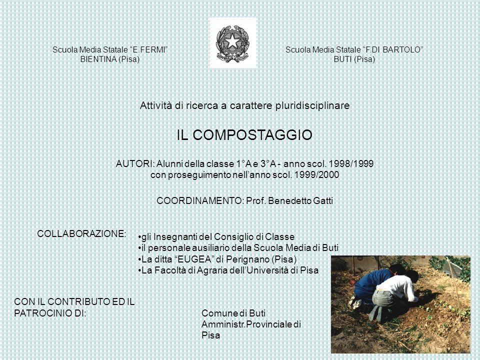 Attività di ricerca a carattere pluridisciplinare IL COMPOSTAGGIO AUTORI: Alunni della classe 1°A e 3°A - anno scol. 1998/1999 con proseguimento nella