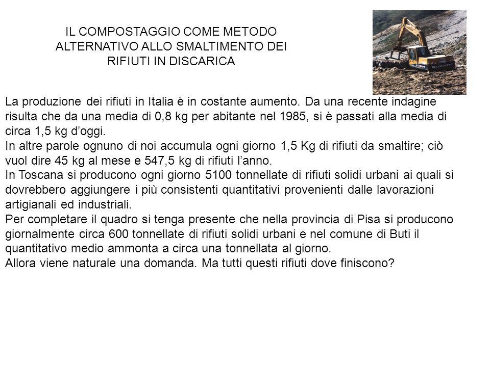IL COMPOSTAGGIO COME METODO ALTERNATIVO ALLO SMALTIMENTO DEI RIFIUTI IN DISCARICA La produzione dei rifiuti in Italia è in costante aumento. Da una re