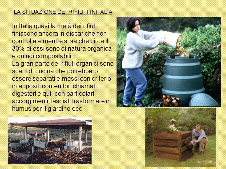 LA SITUAZIONE DEI RIFIUTI INITALIA In Italia quasi la metà dei rifiuti finiscono ancora in discariche non controllate mentre si sa che circa il 30% di