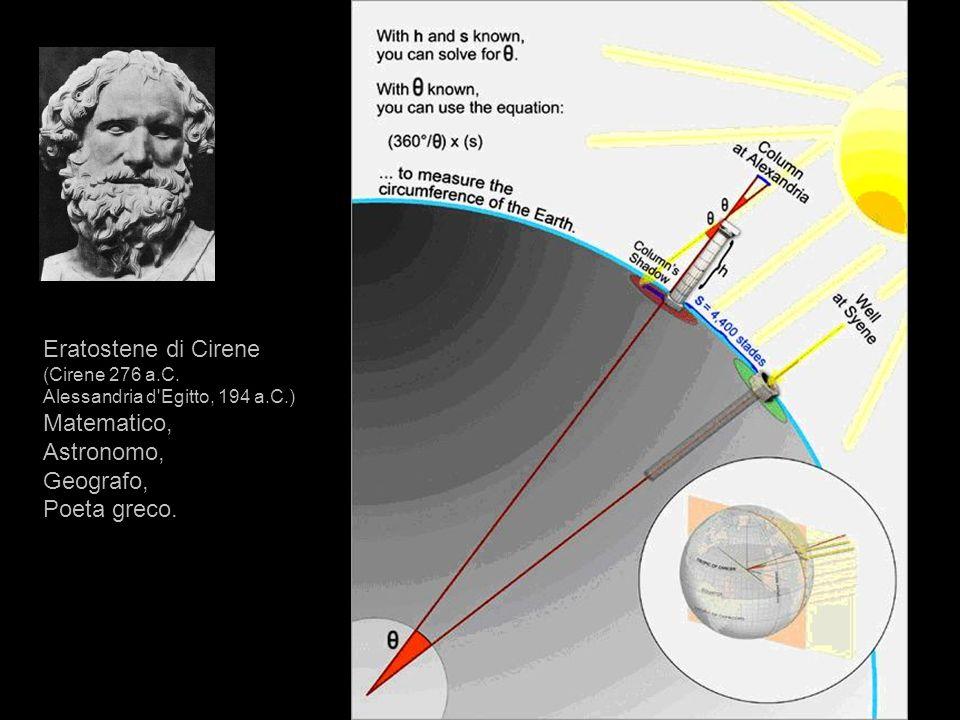 Eratostene di Cirene (Cirene 276 a.C. Alessandria d'Egitto, 194 a.C.) Matematico, Astronomo, Geografo, Poeta greco.