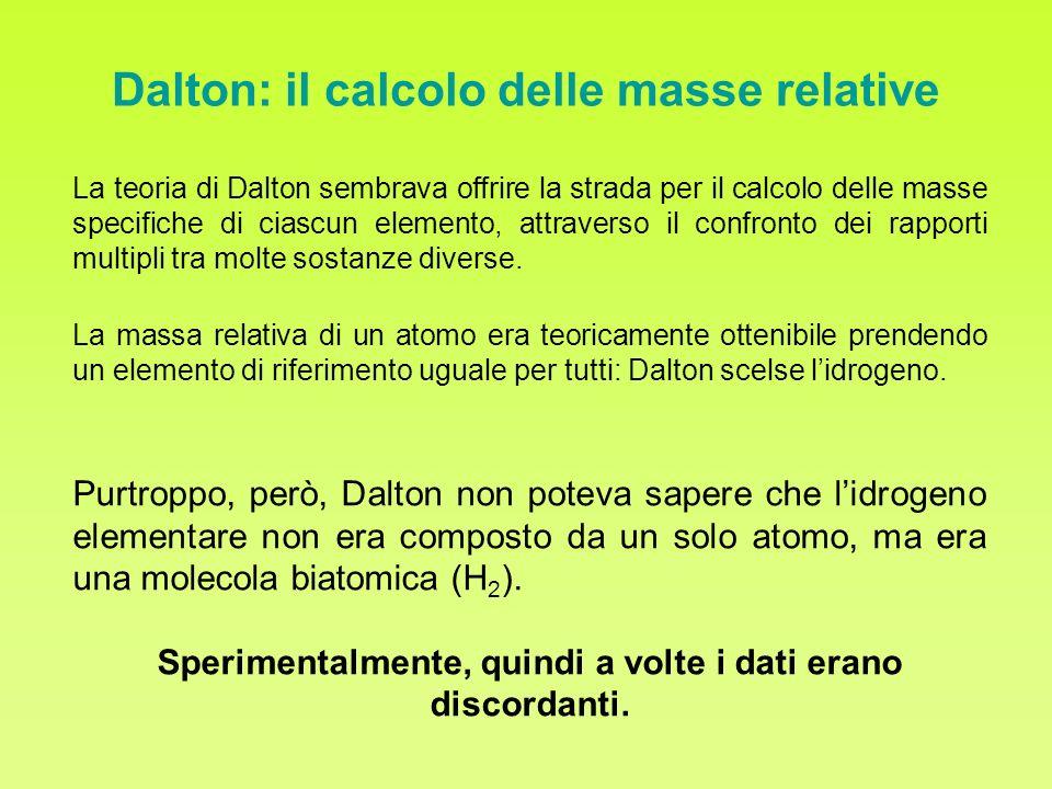 Dalton: il calcolo delle masse relative La teoria di Dalton sembrava offrire la strada per il calcolo delle masse specifiche di ciascun elemento, attr