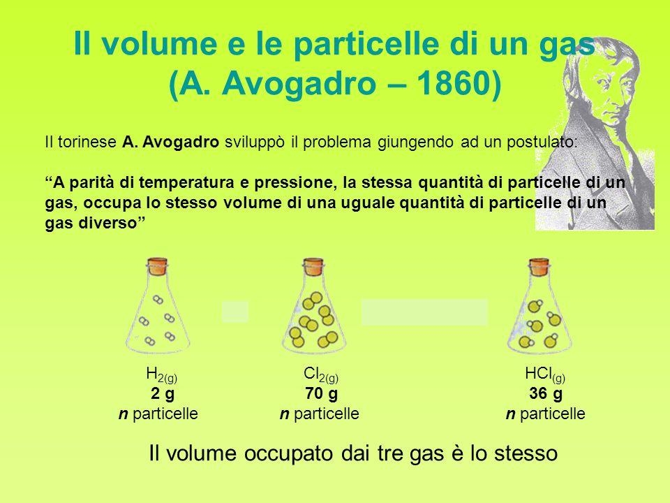 Il volume e le particelle di un gas (A. Avogadro – 1860) Il torinese A. Avogadro sviluppò il problema giungendo ad un postulato: A parità di temperatu