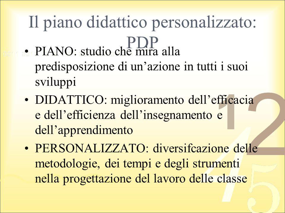 Il piano didattico personalizzato: PDP PIANO: studio che mira alla predisposizione di unazione in tutti i suoi sviluppi DIDATTICO: miglioramento delle