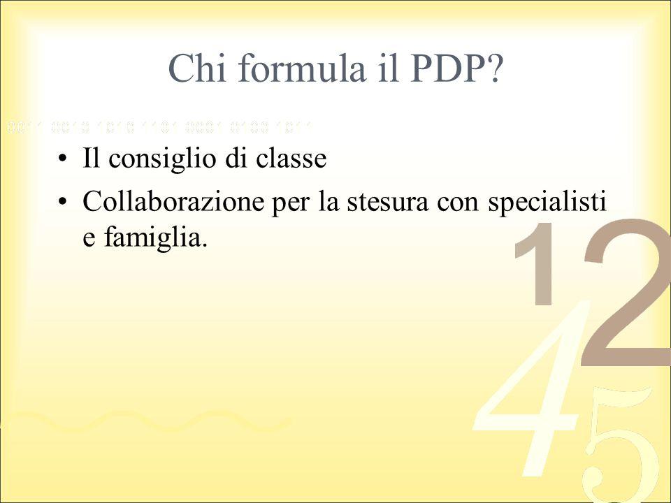 Chi formula il PDP? Il consiglio di classe Collaborazione per la stesura con specialisti e famiglia.