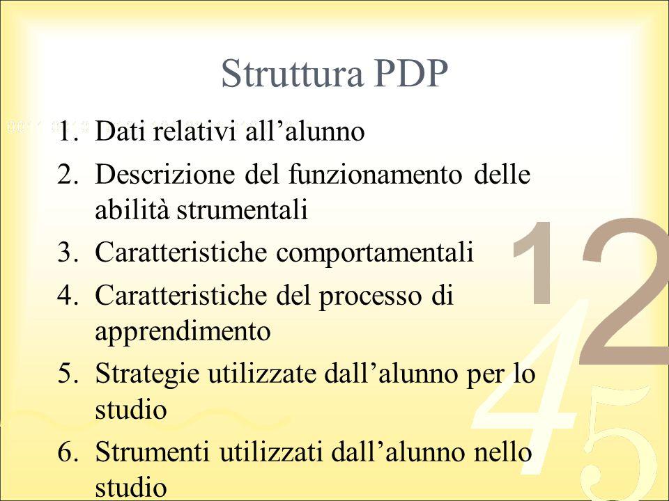 Struttura PDP 1.Dati relativi allalunno 2.Descrizione del funzionamento delle abilità strumentali 3.Caratteristiche comportamentali 4.Caratteristiche