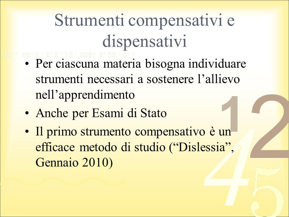 Strumenti compensativi e dispensativi Per ciascuna materia bisogna individuare strumenti necessari a sostenere lallievo nellapprendimento Anche per Es