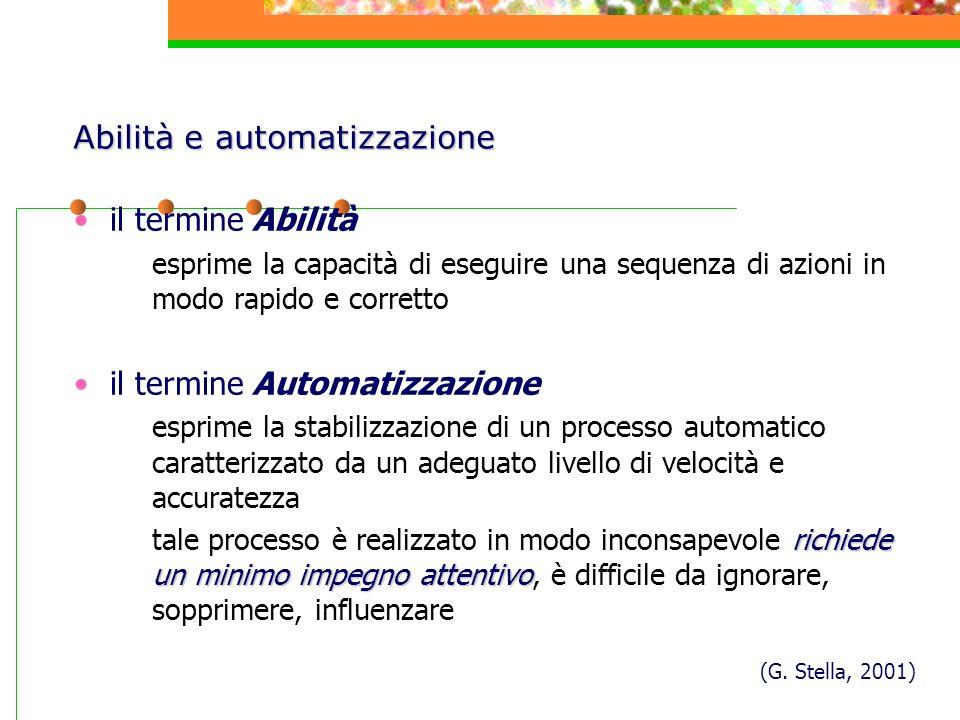 il termine Abilità esprime la capacità di eseguire una sequenza di azioni in modo rapido e corretto il termine Automatizzazione esprime la stabilizzaz