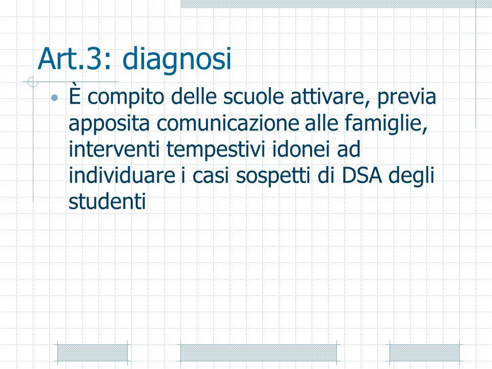 Art.3: diagnosi È compito delle scuole attivare, previa apposita comunicazione alle famiglie, interventi tempestivi idonei ad individuare i casi sospe